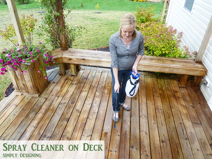 spray cleaner on to clean a deck - how to clean a deck