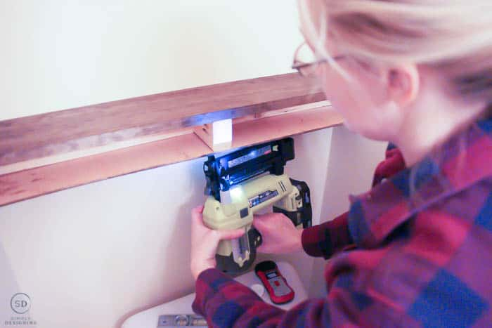 use nail gun to attach top and base for floating shelves