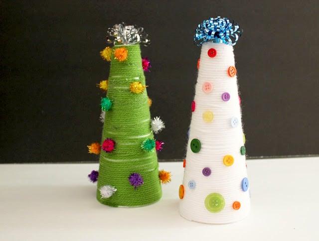 Yarn Wrapped Christmas Trees {Kid Craft}