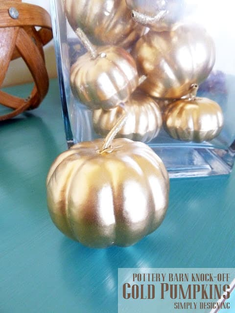 Pottery Barn Knock-Off Gold Pumpkins | #diy #pbknockoff #fall #thanksgiving #gold #pumpkins