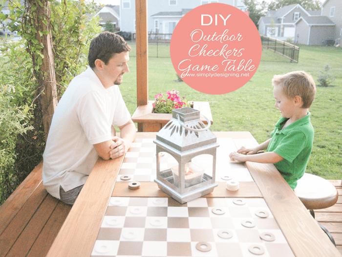 DIY Outdoor Checkers Game Table