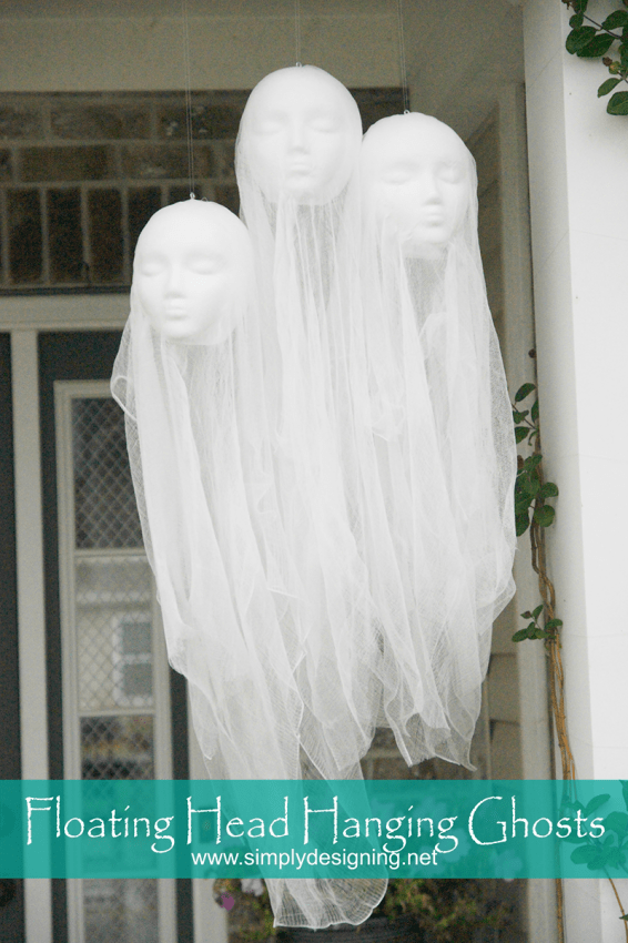 Make this fun DIY Halloween Decorations. Super creepy Floating Head Hanging Ghosts are perfect for any Halloween decor!