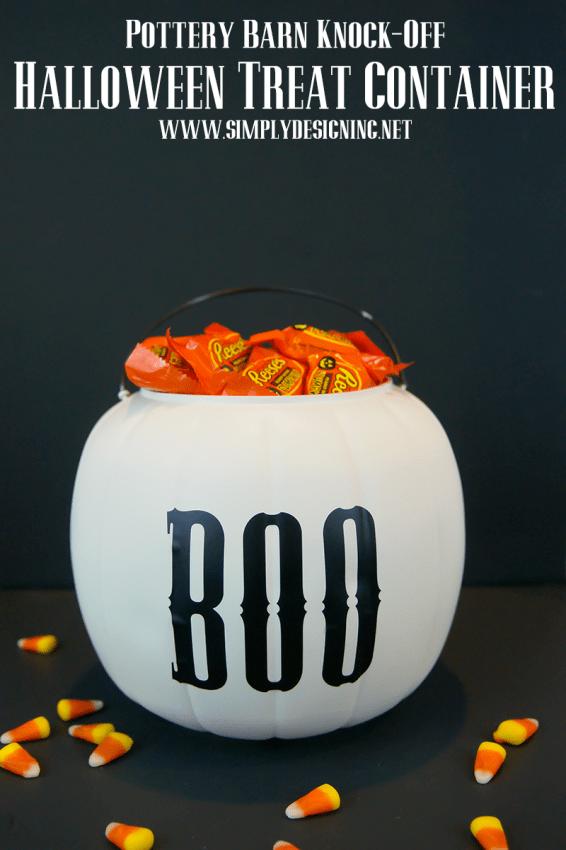 Pottery Barn Knock-Off Halloween Treat Container | #halloween #halloweencraft #potterybarnknockoff