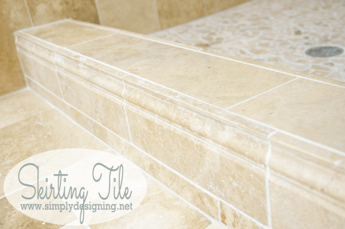 Skirting Tile -Come see how simple it is to tile a shower to create a custom and unique look in your own home while saving a lot of money by doing it yourself!