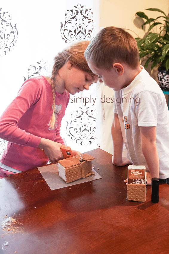 Make Gingerbread Houses with left over graham crackers after making peanut butter cheesecake