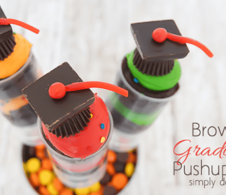 Brownie Graduation Pushup Pops with Candy Grad Hat Featured Image