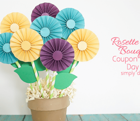 Mother's Day Gift with Rosette Flower Bouquet and Coupons