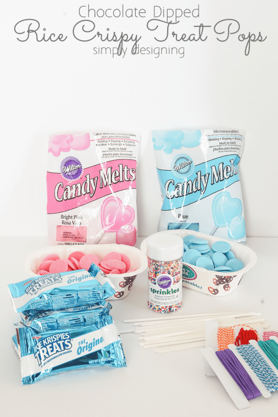 Supplies to make rice crispy treat pops including pink and blue candy melts, store bought Rice Krispie Treats, candy sprinkles, sucker sticks, and twine