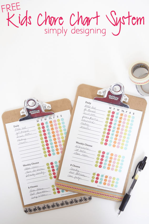 Free Chores for kids chore Chart Printable on clp board with chores listed by daily, weekly and chores to earn money