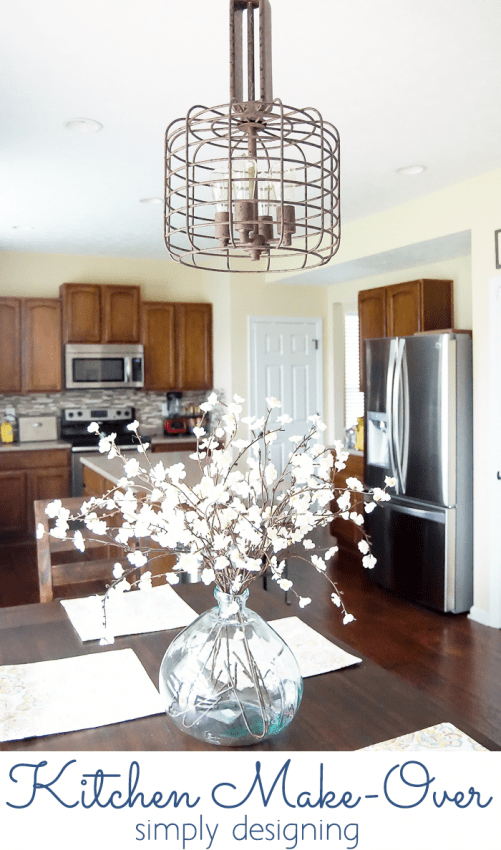 Kitchen Make-Over - new light and table centerpiece