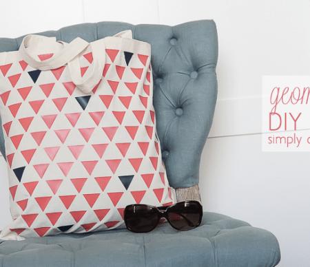 Geometric Tote Bag - a fun simple and modern DIY tote bag