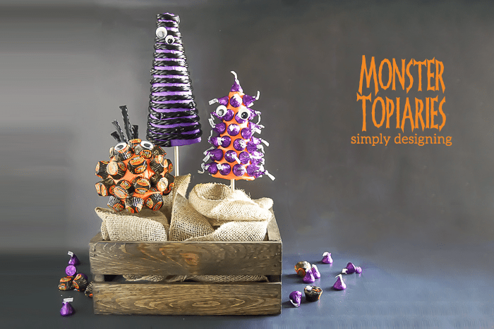 Monster Topiaries - a fun Halloween craft made with candy