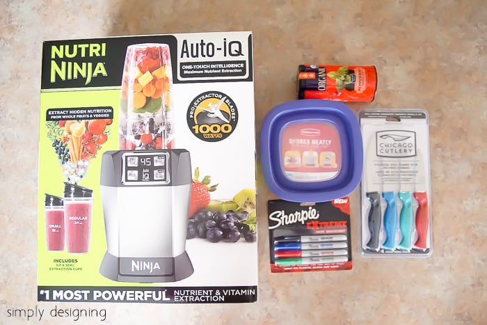 Nutri Ninja Blender with sharpie markers, rubbermaid container to make homemade nutella recipes