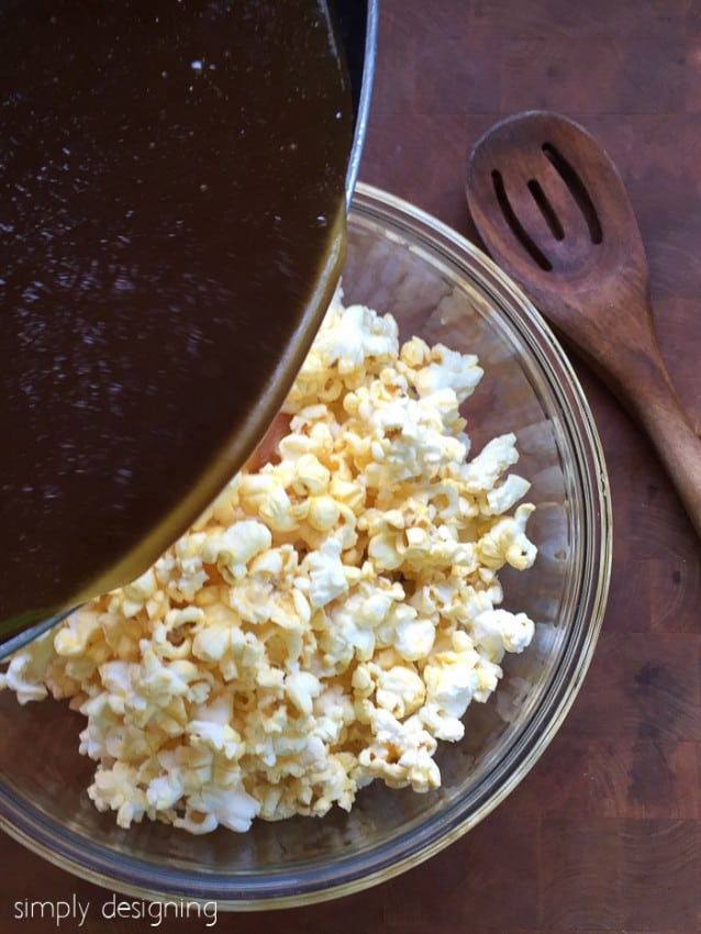 pour melted brown sugar mixture over popcorn for quick caramel popcorn