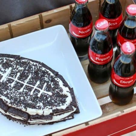 Football OREO Cake Recipe - no bake recipe