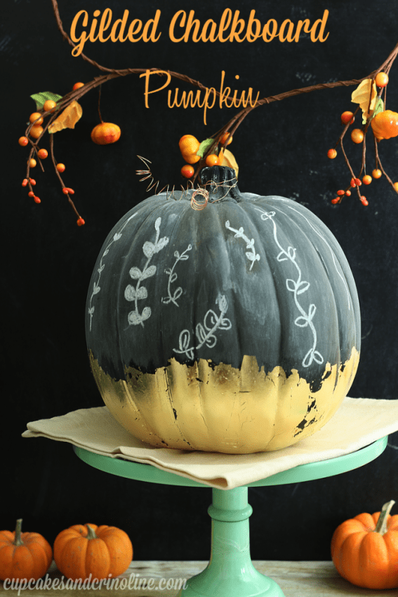 Gilded Chalkboard Pumpkin by Cupcakes and Crinoline