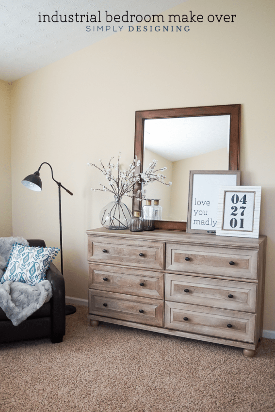 Industrial Bedroom Make Over with Typography Art