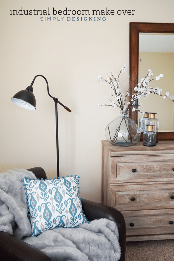 Industrial Bedroom Make Over with weathered dressed and typography art