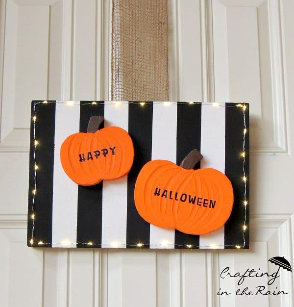 Lit Halloween Door Hanging by Crafting in the Rain