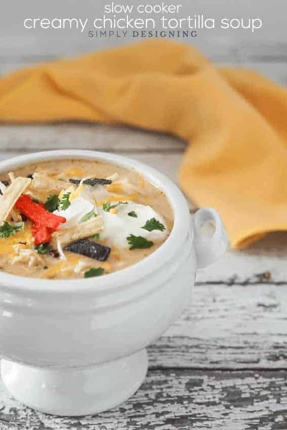 Slow Cooker Creamy Chicken Tortilla Soup Recipe - this is super simple and so delicious
