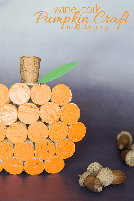 Wine Cork Pumpkin Decor - fun fall craft idea using wine corks paint and glue