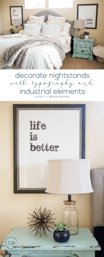 How to Decorate Nightstands with Typography and Industrial Elements - such an easy update without a high cost