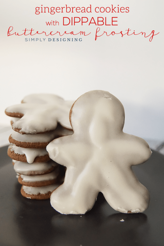 Gingerbread Cookies with Dippable Buttercream Frosting - a royal frosting look but with buttercream