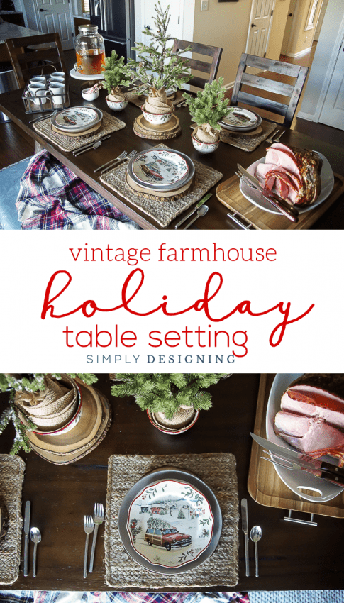 Vintage Farmhouse Holiday Table Setting - such a beautiful way to celebrate Christmas