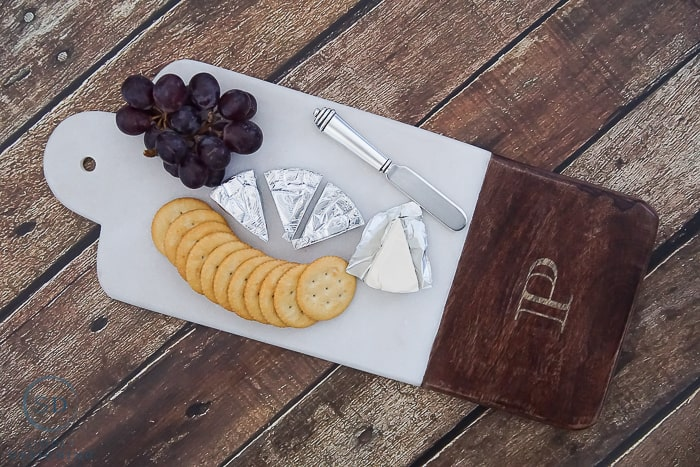 Monogrammed Marble and Wood Cheese Plate