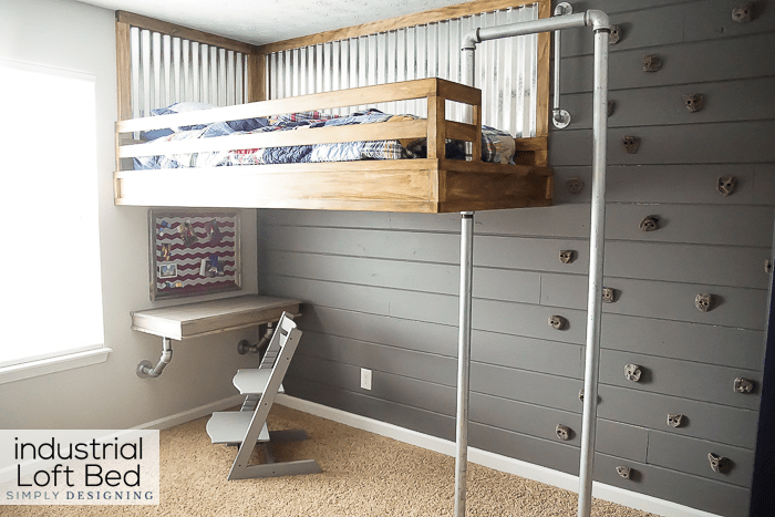 How to Build your own Industrial Loft Bed with Rock Climbing Wall and Firemans Pole