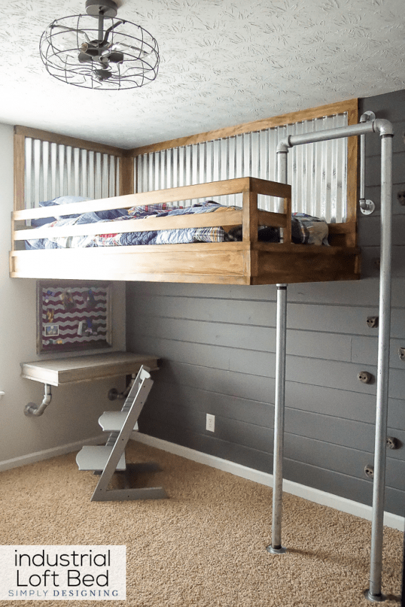Industrial Loft Bed with Rock Climbing Wall and Firemans Pole