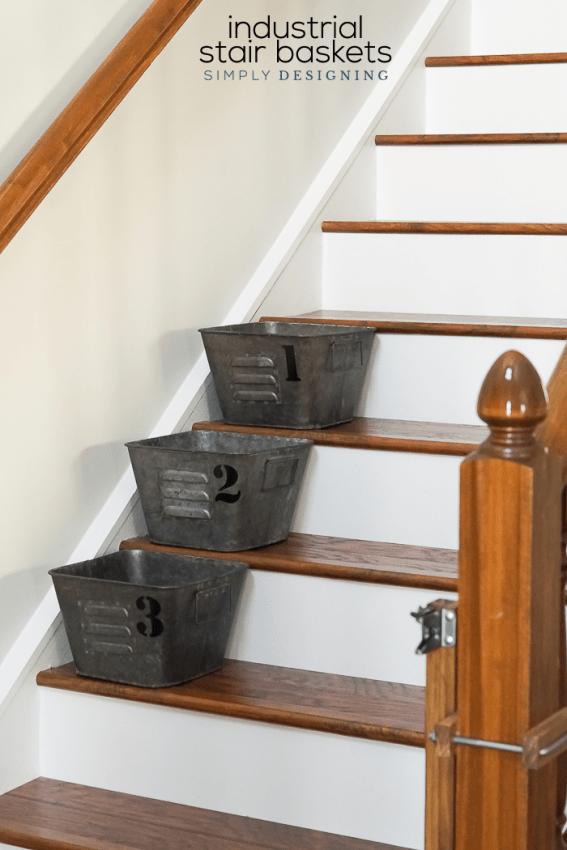 Industrial Stair Baskets with vinyl numbers