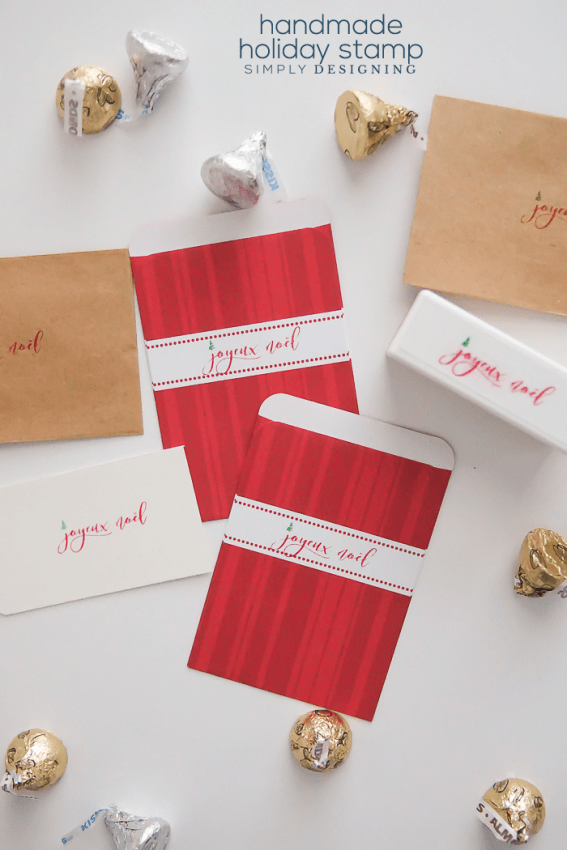 Joyeux Noel Holiday Stamp that you can make at home
