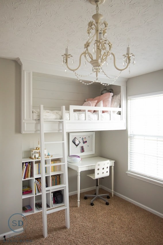 White Loft Bed for a Girl with Shiplap