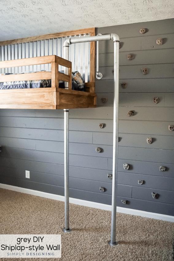 Grey DIY Shiplap Style Wall