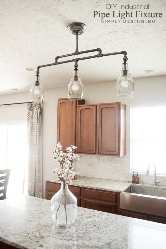 DIY Industrial Pipe Light Fixture - a beautiful DIY pendant light