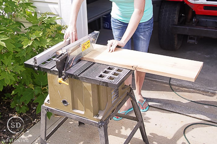 """cutting 10""""wide boards with a table saw to make shelves for printer table"""
