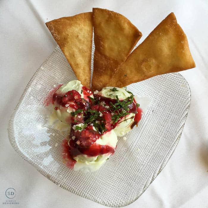 Avocado Ice Cream with Raspberry Sauce at rRosa Mexicano NYC
