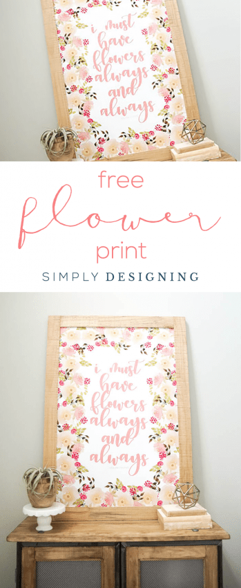 FREE Floral Print - I must have flowers always and always - watercolor - flowers - flower print - floral - home decor print - free print - 24x36 free print - print your own home decor art prints