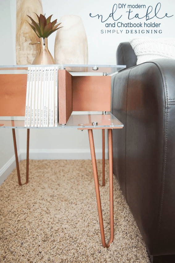 Modern End Table with Hairpin Legs and photobook storage