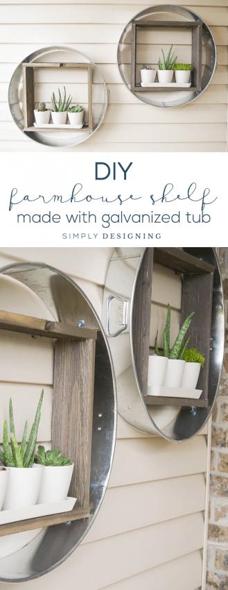 DIY Farmhouse Shelf - this farmhouse shelf is made out of a galvanized tub is so fun - industrial shelf - farmhouse - vertical planter - hanging planter - outdoor living
