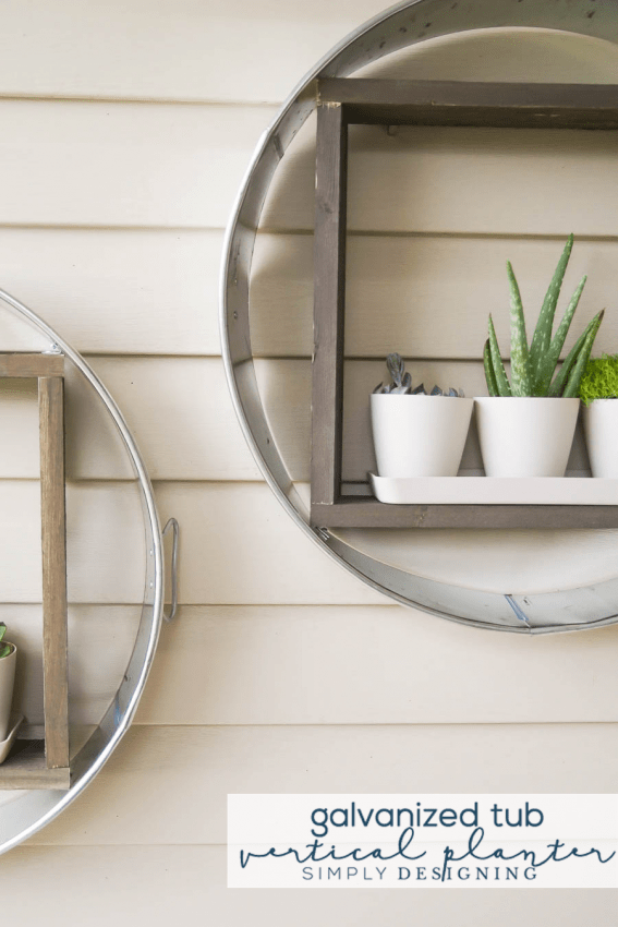 How to make a Vertical Planter out of a galvanized tub and wood - a fun farmhouse shelf