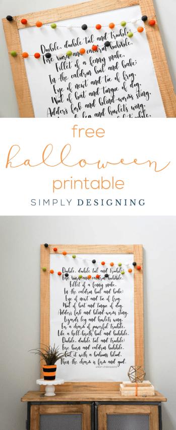 Free Halloween Printable - Double Double Toil and Trouble Halloween Print - beautiful large print for Halloween - free print - free printable