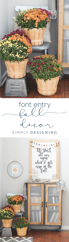 Front Entry FALL DECOR - a beautiful and simple way to decorate your home for the fall - FREE Fall Print