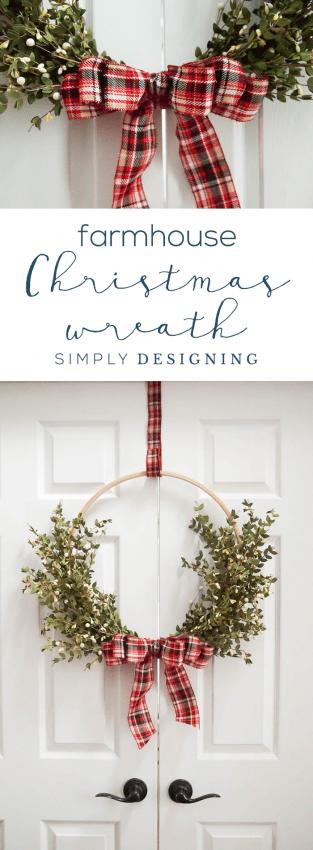 Farmhouse Christmas Wreath - Christmas Hoop Wreath - Holiday Wreath Made with Wood Hoop - DIY Christmas Wreath