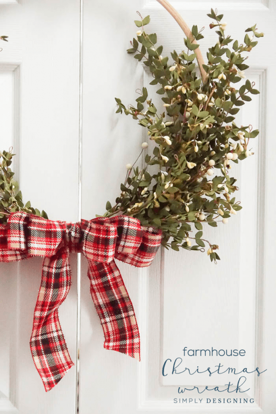 Farmhouse Christmas Wreath - Holiday Hoop Wreath - Simply Designing