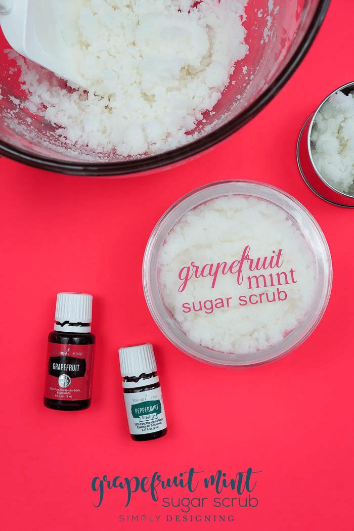 Grapefruit Mint Sugar Scrub - a yummy body scrub recipe that is uplifting