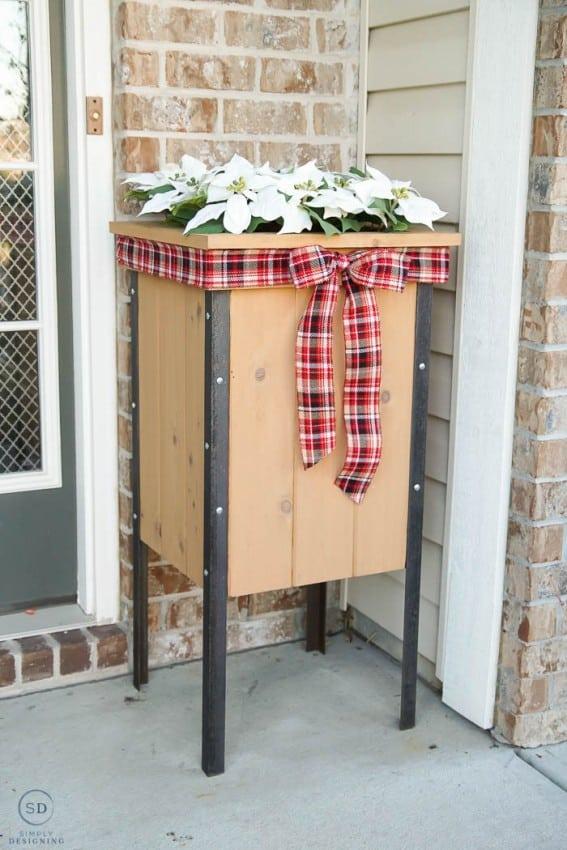 Fake Poinsettias for outdoor Christmas decoration