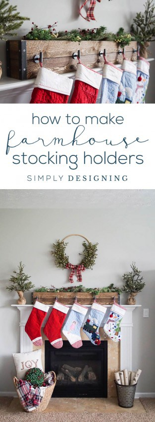 How to make Farmhouse Stocking Holders - simple Christmas Stocking Hangers