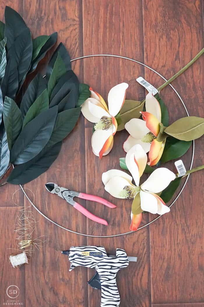 How to Make a Magnolia Hoop Wreath - supplies